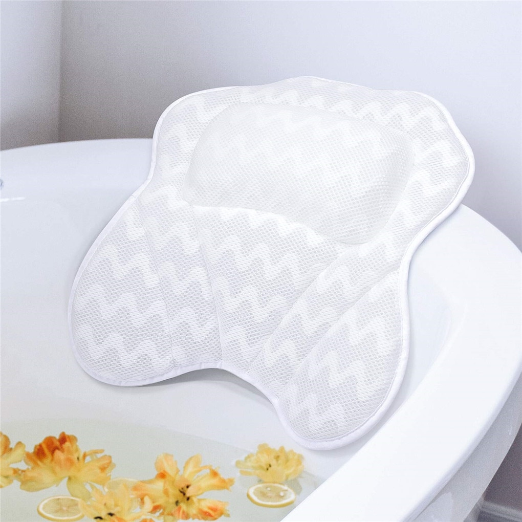 Bathtub Pillow Neck Comfort Cushion Suction Cup Air Mesh Head Neck Back Shoulder Support 3D Ventilat