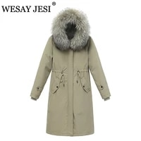 wesay jesi fashion 2021 winter jacket women hooded parka padded warm woman clothes fur collar jacket commute simple casual coat