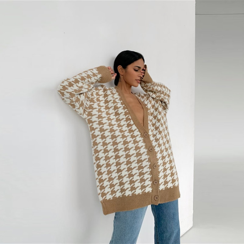 w billings the new england psalm singer Casual Geometric England Style Sweater Woman V-Neck Single Breasted Long Sleeve Cardigan 2021 New A\W Date Office