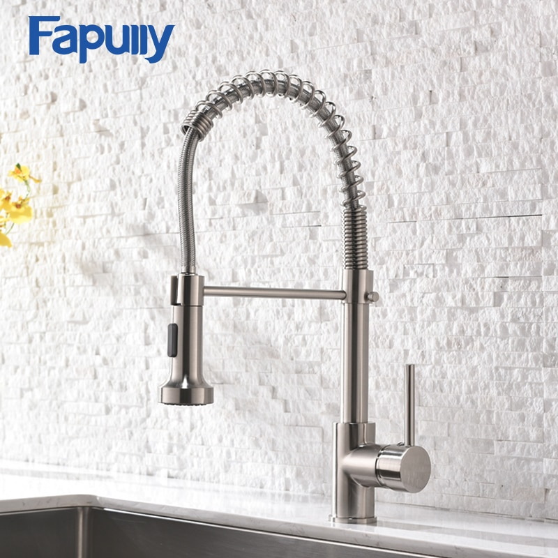 Fapully Kitchen Faucet Spring Pull Out Sprayer Dual Spout Single Handle Mixer Tap Sink Faucet 360 Rotation Kitchen Faucets 189 flg spring kitchen faucet swivel side sprayer dual spout kitchen mixer tap brushed nickel kitchen sink faucet 360 rotation