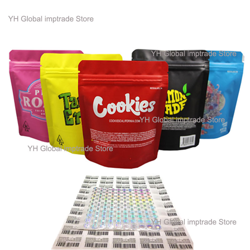 AliExpress - 100 Pack Mylar Snack Tobacco Bags 3.5g Smell Proof Ziplock Resealable Heatseal Weed Package with Holo Stickers & Labels