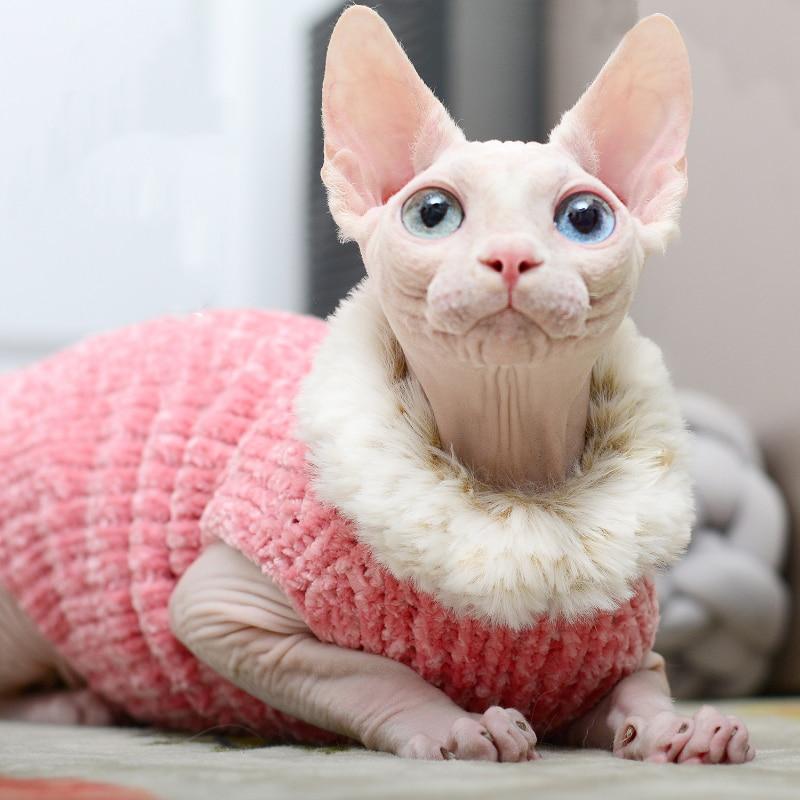 Camisola de Vison Inverno sem Pêlos Roupas de Gato Roupas Artesanais Quente Colete Outono Esfinge lã