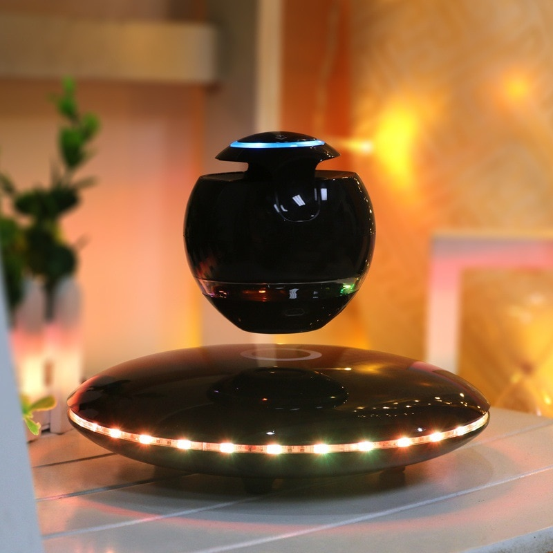 LED Levitating Bluetooth Speaker Floating Maglev multicolor led lights 360 Degree Rotating portable fashion UFO creative gifts