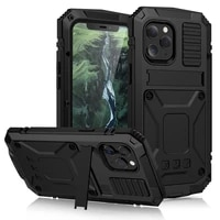 full body rugged armor shockproof protective case for iphone 12 pro max 11 pro xs max xr x mini kickstand aluminum metal cover