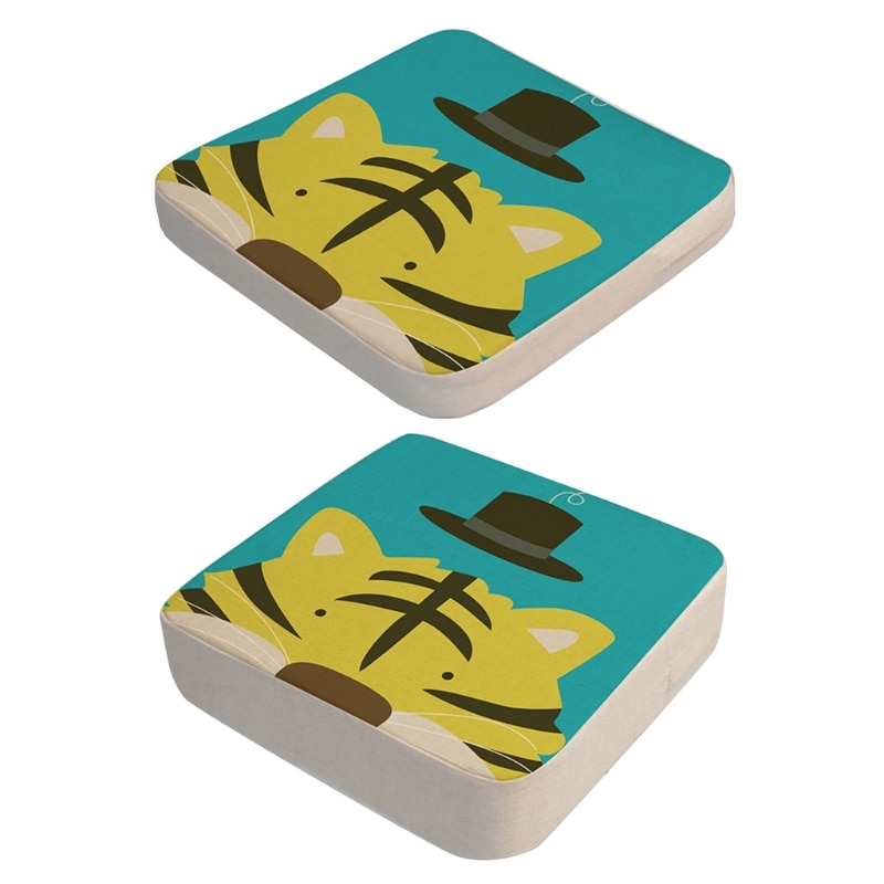 2 Pcs/Set Anti-Skid Cartoon Animal Print Dining Children Cushion Increased Pad H055