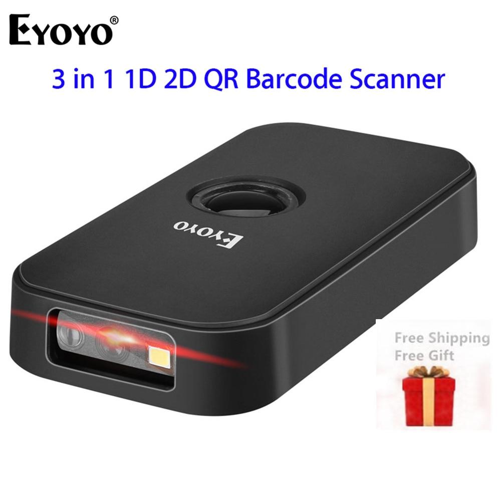 Eyoyo-ماسح الباركود CCD ، جيب 2.4G BT ، سلكي ، 3 في 1 ، أوضاع اتصال ، القدرة على فك التشفير ، لاسلكي صغير 1D 2D
