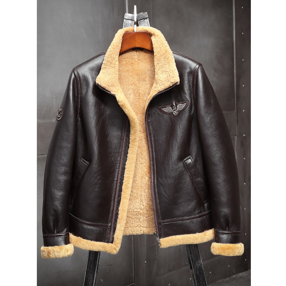 2019 New Mens Brown B3 Shearling Jacket Thicken Sheepskin Coat   Winter Fur Coat Mens Leather Jacket Motorcycle Jacket