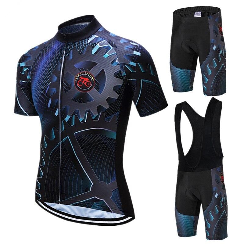 Teleyi Gear Cycling Clothing Men Summer Pro Team Cycling Jersey Set Mountain Bike Clothing Man Racing Sport Bicycle Wear Clothes