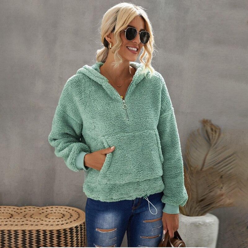 المرأة مقنعين sweatershirt فروي الربيع والخريف بأكمام طويلة هوديس غير رسمية مقنعين