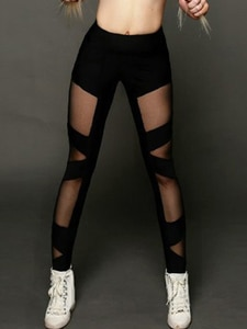 1pcs ladies polyester spandex elastic high waist black see-through mesh cross-bundled leggings elastic fitness pants S9K0892