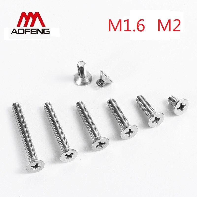 1,6 мм 2 мм винт с потайной головкой и крестообразным шлицем M1.6 M2X3 4 5 на возраст 6, 8, 10, 12 лет 16 20 25 30 мм установочные винты и гайки и шайбы