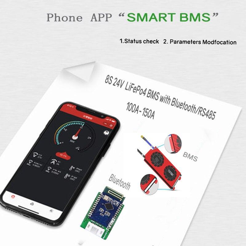 BMS 8 S LiFePo4 بلوتوث 24 فولت 100A 150A ملموس عرض RS485 CANbus NTC UART SOC للبطارية 3.2 فولت 3.65 فولت متصلة في 8 سلسلة