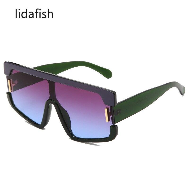 lidafish 2021 New Trend Fashion Siamese Lens Sunglasses Women Men Couple Big Frame Gradient Colorful