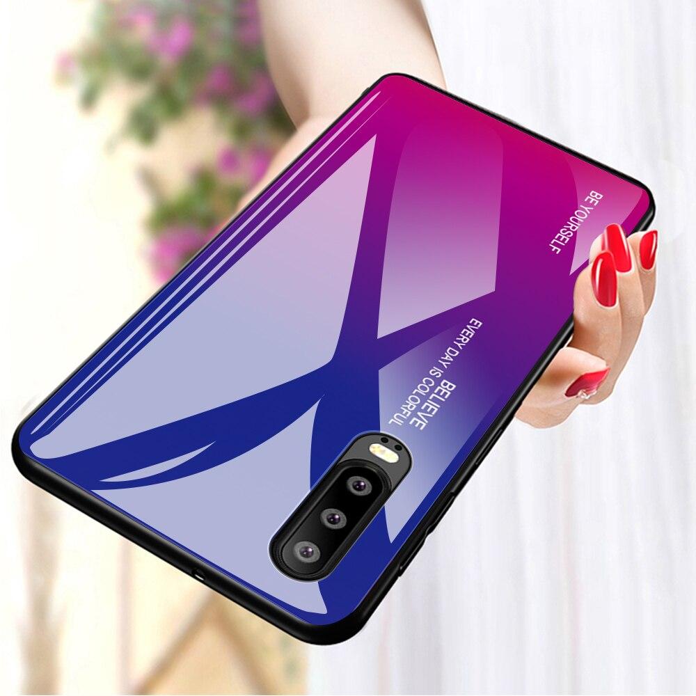 Funda de vidrio degradado para Huawei P30 pro P20 lite 2019 funda trasera de vidrio bolsas de teléfono Mate 30 20 10 lite pro Nova 5T 5i pro 4E