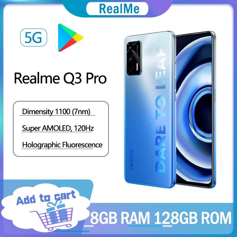 Перейти на Алиэкспресс и купить Новинка Оригинал Realme Q3 Pro 5G смартфон 8 ГБ 128 6,4 дюймов FHD + безрамочный экран Super AMOLED 120 Гц 4500 мА/ч, Батарея 64MP Камера 30 Вт Быстрый Зарядное устройс...