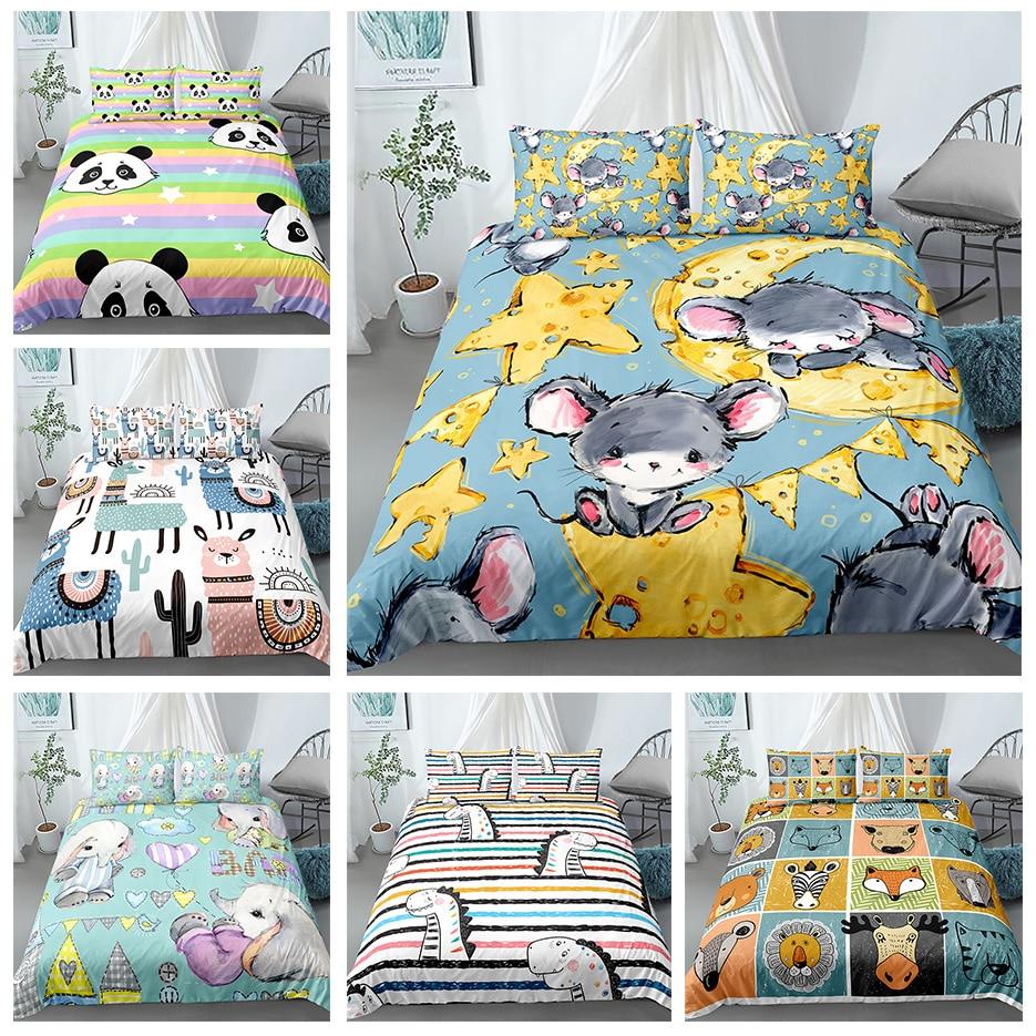 Juego de cama para animales de dibujos animados tamaño King Queen juegos de edredón Multicolor con funda de almohada cubrecama gato perro Drop Shipping