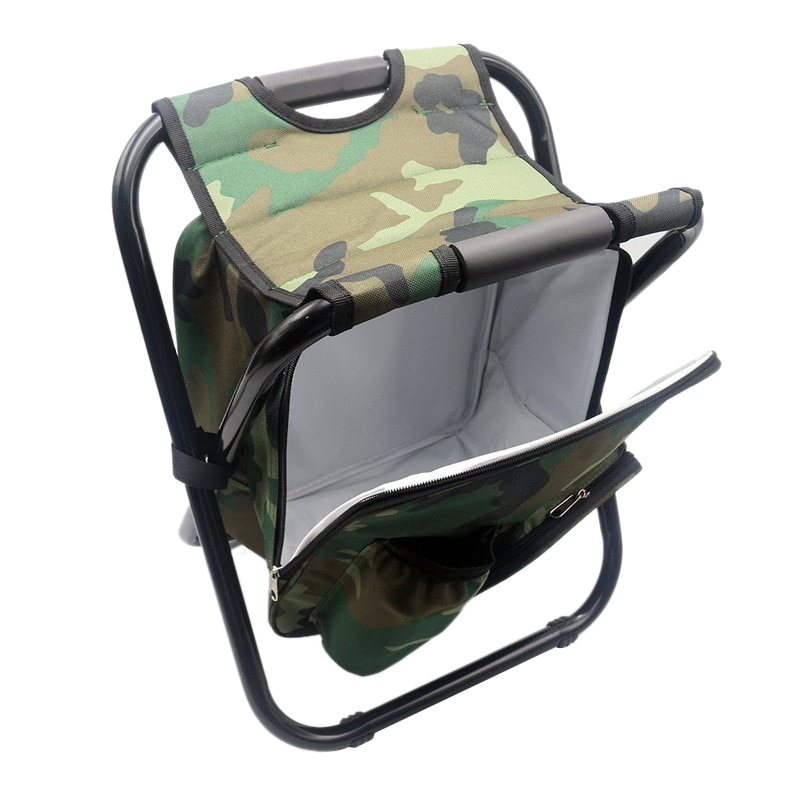 Silla de mochila plegable portátil de Camping, doble tela Oxford, bolso de refrigeración, silla de pesca de camuflaje