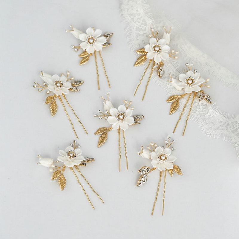 Beautiful White Flower Hairpin Bride Wedding Hairpin Rhinestone Hair Accessories