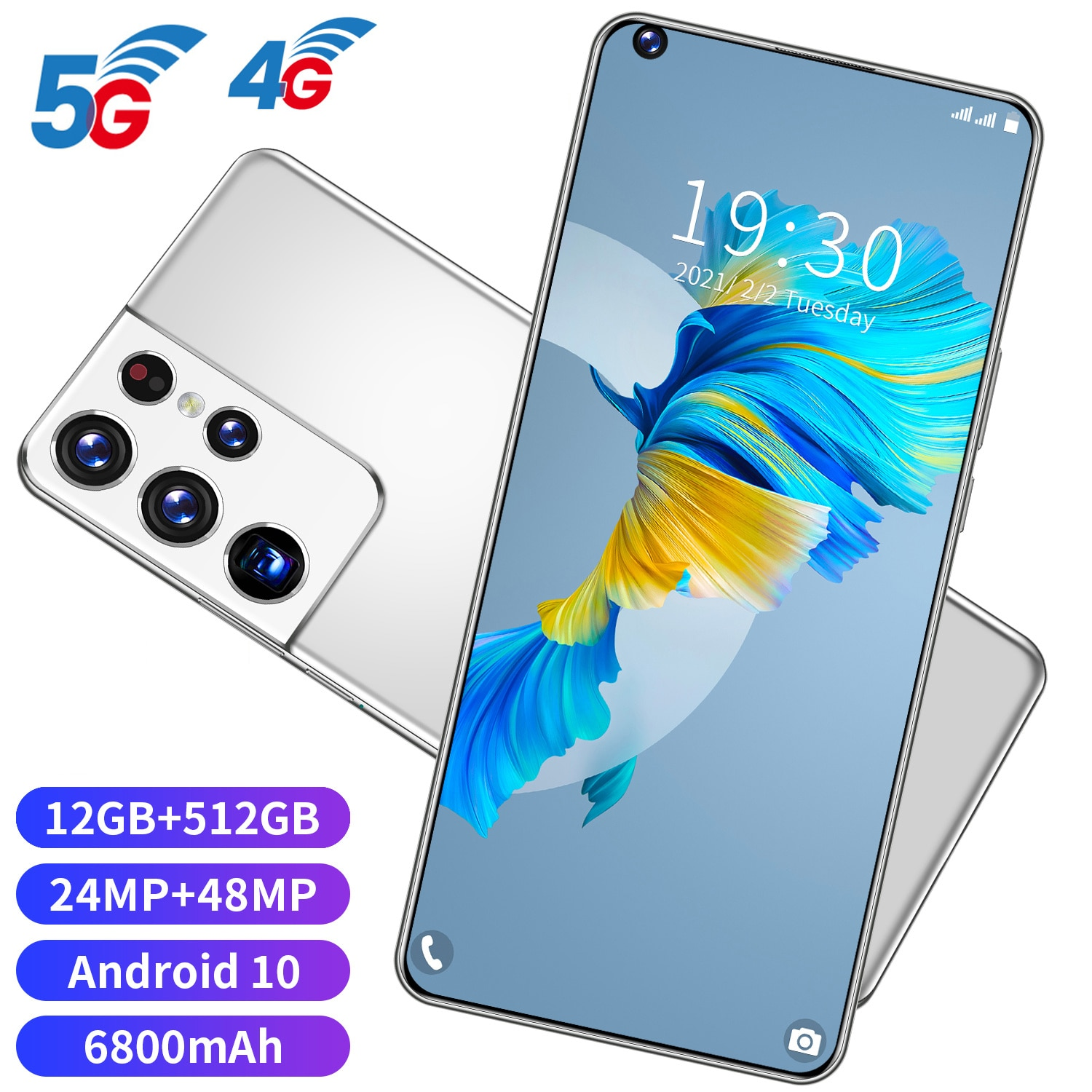 S21 Ultra 7.3 Inch Smartphone 6800mAh Unlock Global Version 4G/5G Android 10.0 24MP+48MP 12GB+512GB Celulares Smart phone