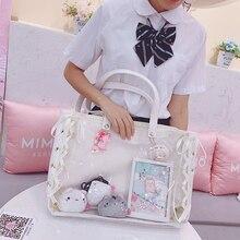 Ita sac sac à bandoulière japonais Lolita sac Transparent PU simple côté transparence sac à main pour Dango Badge montrer Ita sac JK Cosplay