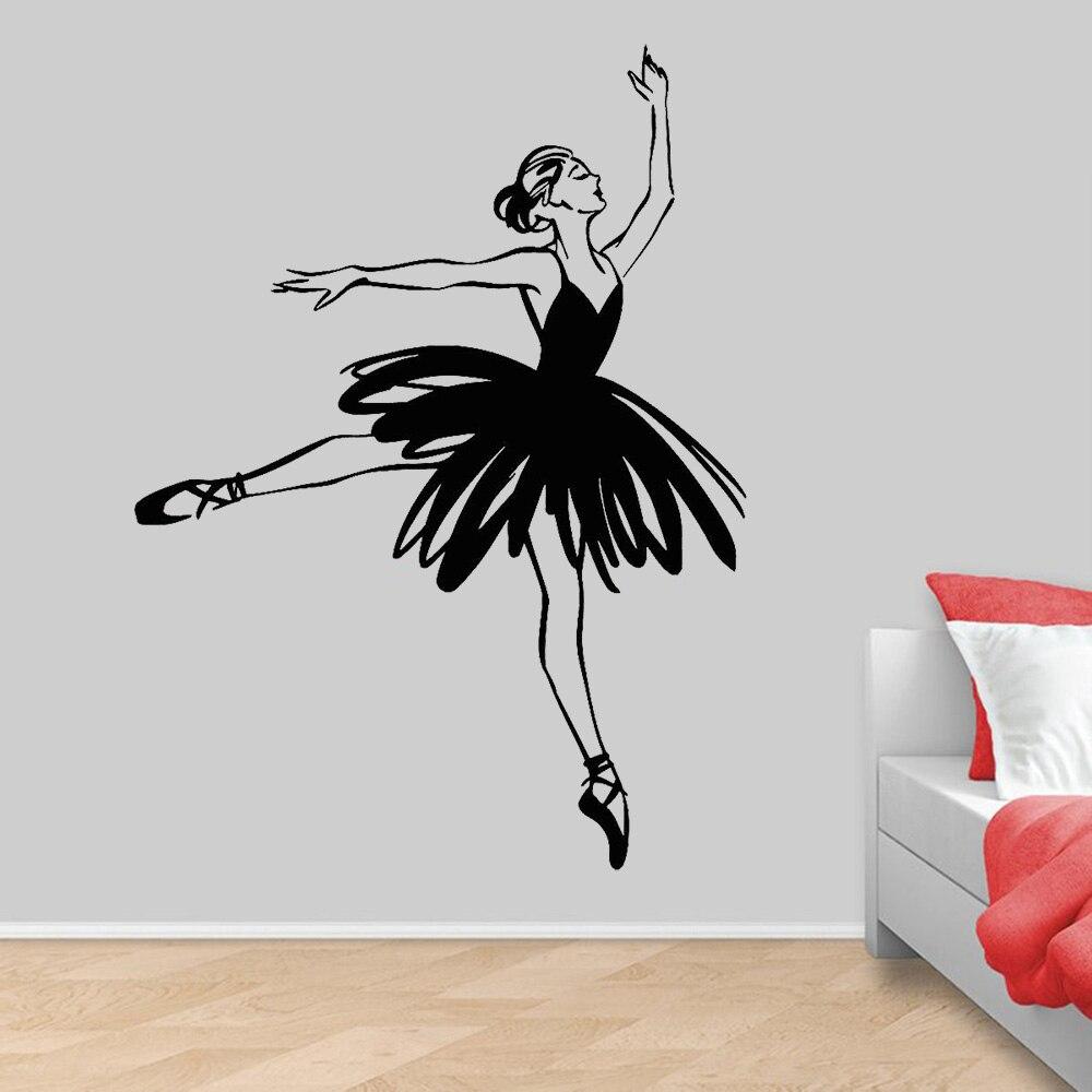 Abstrakte Ballerina Vinyl Wand Aufkleber Ballett Dance Studio Tanzen Mädchen Wand Aufkleber für Mädchen Zimmer Dekoration Zubehör Z435