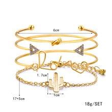 4-piece Fashion Alloy Stainless Steel Bracelet Bracelet Cactus Arrow Love Bracelet Bracelet Bracelet Women Wedding Jewelry