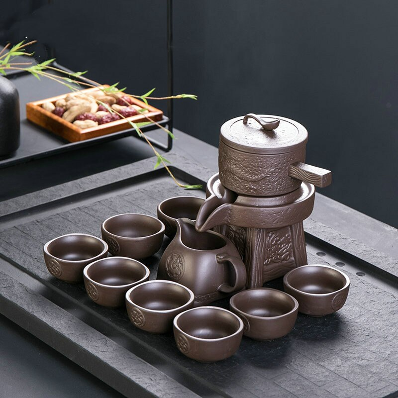 Zisha-طقم شاي الكونغ فو الأوتوماتيكي ، إبريق شاي سيراميك منزلي ، مضاد للحرق ، هدايا عمل إبداعية ، طقم شاي صيني