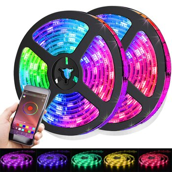 Led Strip Lights RGB 5050 Bluetooth Application Mode For Party Computer Bedroom Decoration luces Luminous Fita Lamp Diode Shape