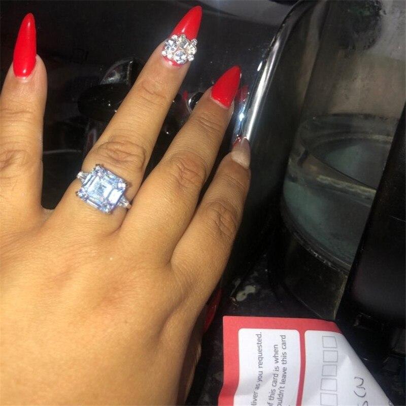 Choucong luxo anel de promessa 925 prata esterlina asscher corte 6ct aaaaa cz noivado anéis de banda de casamento para jóias femininas
