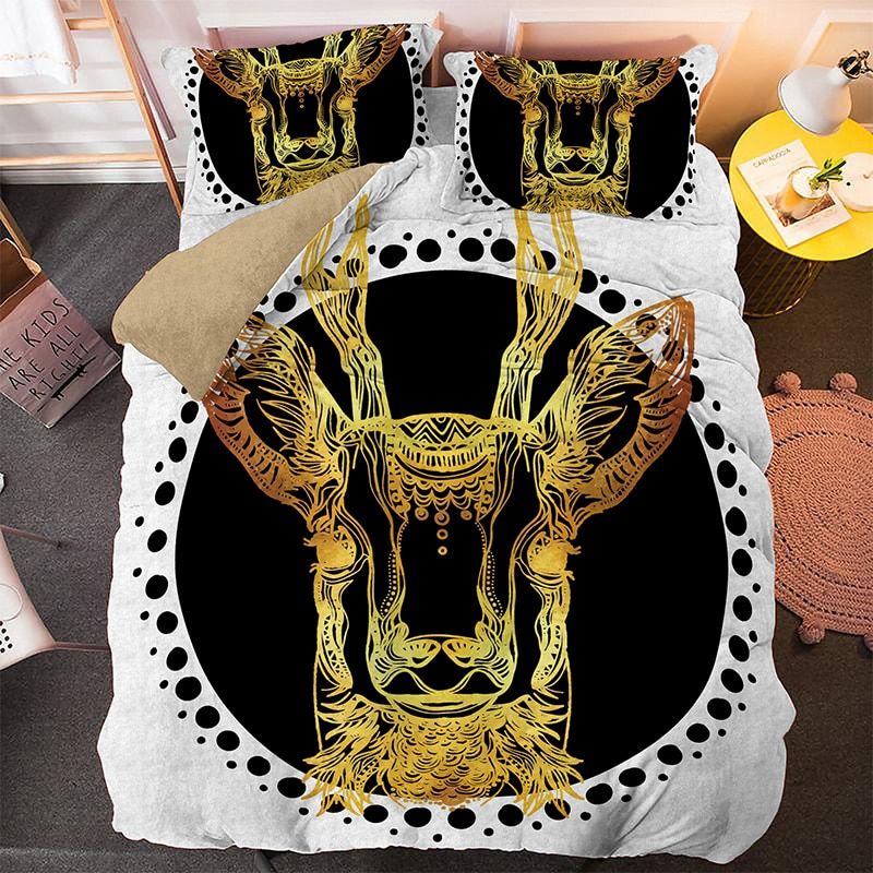 3D Golden Cattle Single King Bedding Set 2/3pcs With Pillowcase Animal Printed Queen Size Duvet Cover Bed Sets Home Textile
