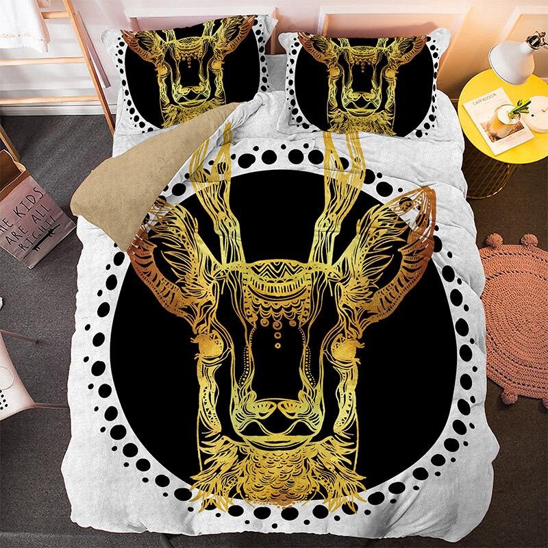 3D الذهبي الماشية واحدة الملك الفراش مجموعة 2/3 قطعة مع المخدة الحيوان المطبوعة الملكة حجم غطاء لحاف السرير مجموعات المنسوجات المنزلية