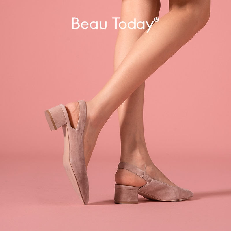 BeauToday sandalias mujeres chico de Punta banda elástica superficial de Medicina de cuero genuino de tacón Zapatos de señora de verano hecho a mano 31039