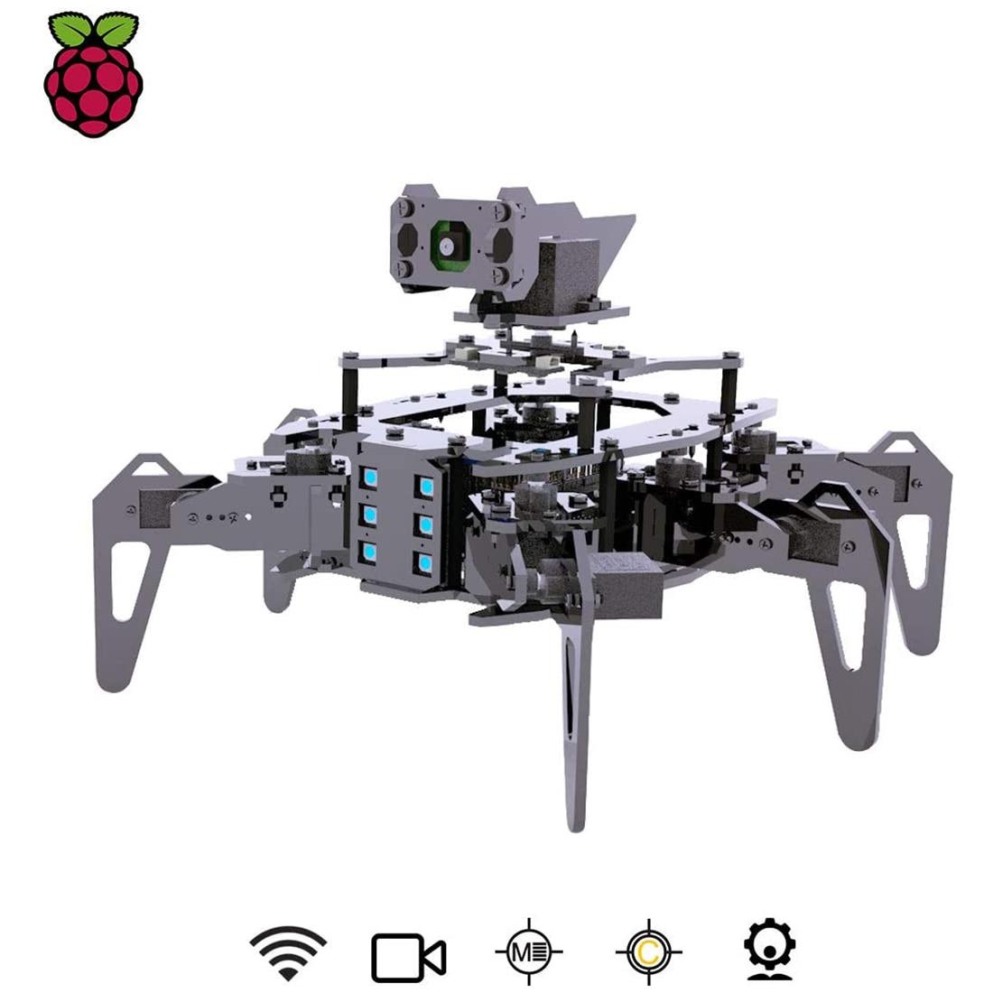 عدة روبوت عنكبوتية من raspclaw Hexapod مع جهاز تتبع الهدف من OpenCV روبوت زاحف لنقل الفيديو من أجل راسبيري Pi 3 موديل B +/B