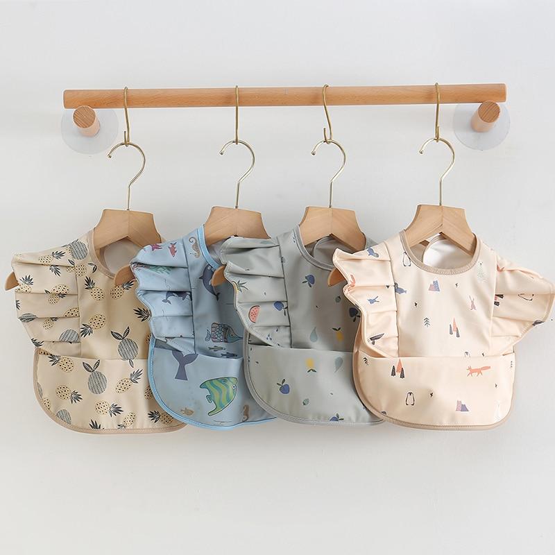 PU Waterproof Feeding Bibs Cartoon Animal Fruit Printing Toddler Kids Saliva Towel Baby Tableware Accessories Clothing Stuff