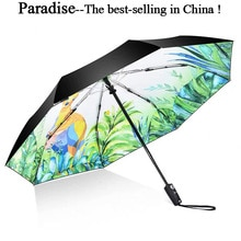 Parapluie de pluie automatique à fleurs   Parapluie de pluie à trois branches pour femmes, outils de pluie, design de dessin animé Unique pour enfants