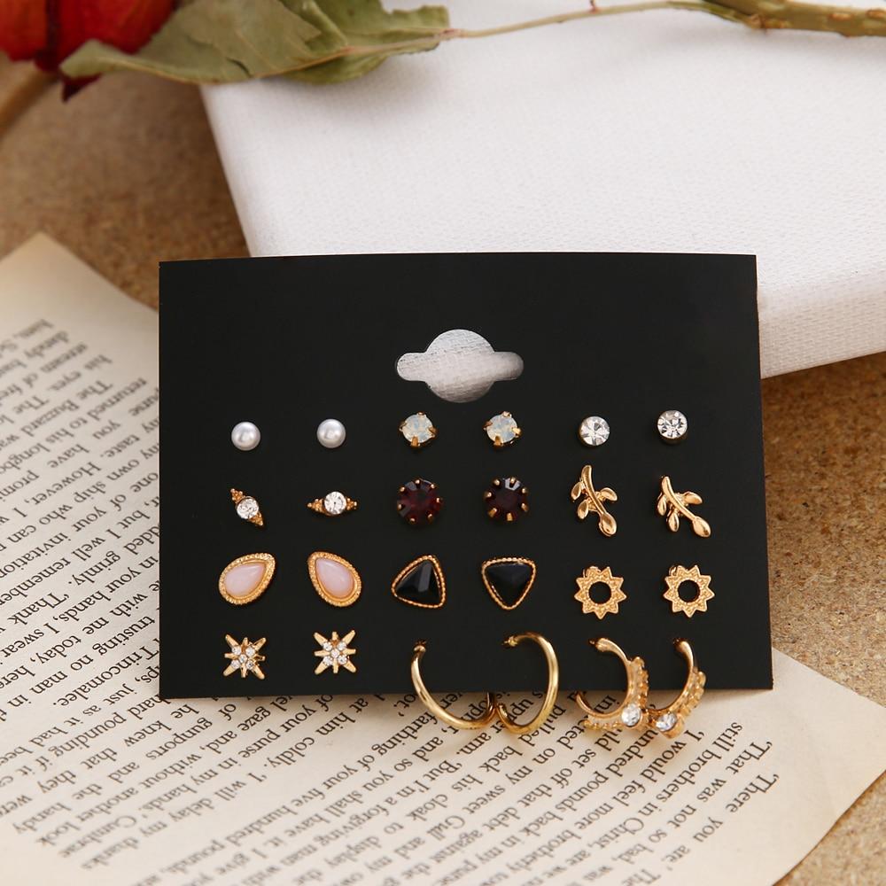 12 porų gėlių moteriški auskarai, perlų krištolo auskarai, - Mados papuošalai - Nuotrauka 5