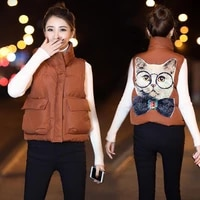 new womens autumn and winter short vest filling cotton solid color sleeveless jacket