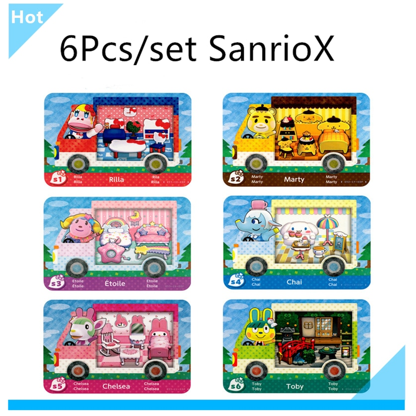 Sanrxo X S1~S6 Animal Croxxing Card Full 6Pcs/set Of Amxxbo NFC Ntag215 Tag For NS Switch