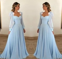 light blue prom dresses 2020 new women party night long sleeves chiffon long prom gowns for wedding party elegant robe de soiree