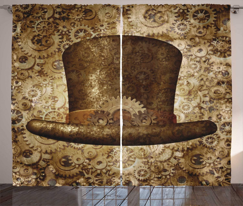 Cortinas victorianas Sombrero estilo Steampunk fantasía ciencia ficción concepto engranajes futuristas Cogs imprimir sala de estar dormitorio ventana cortinas