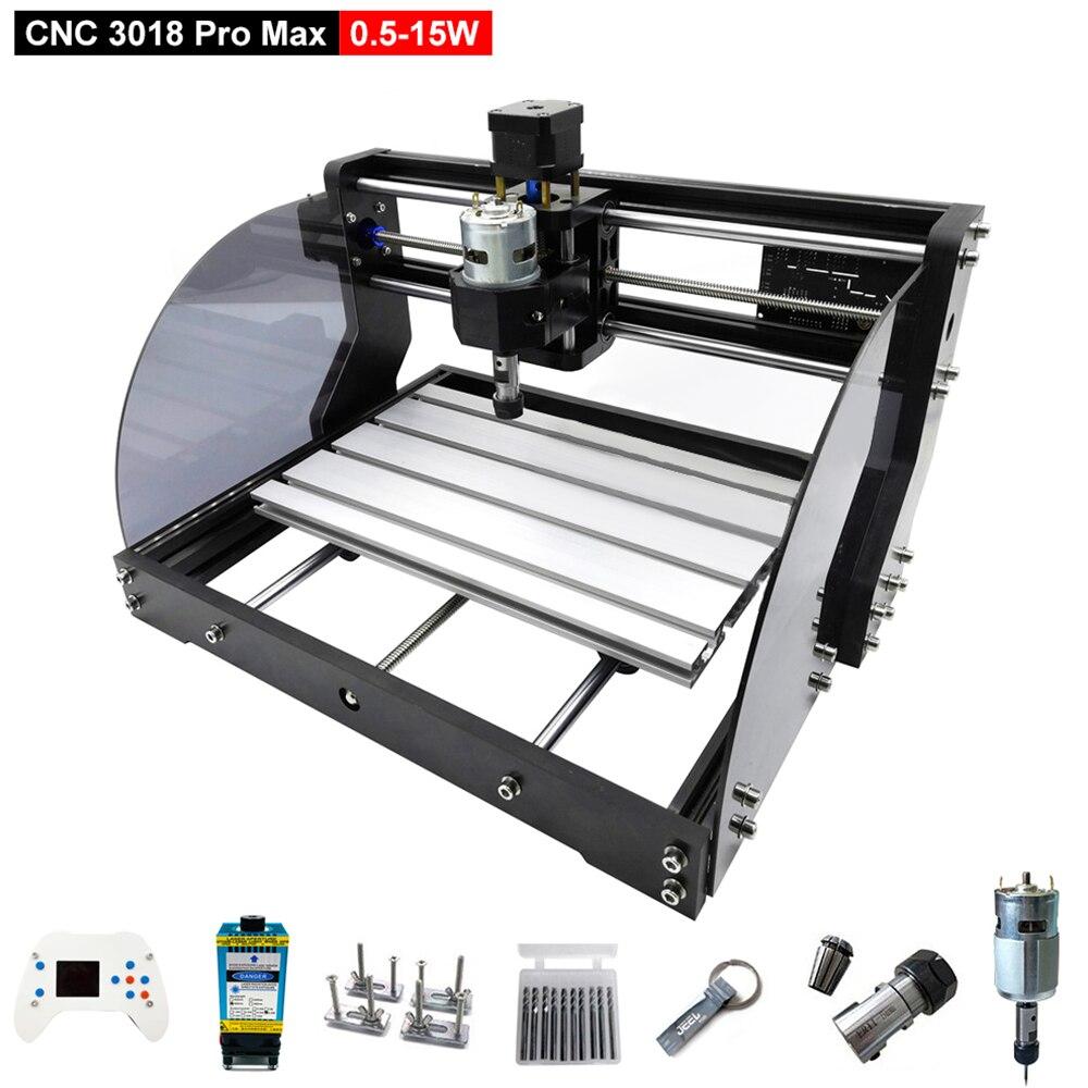 CNC 3018 Pro Max grabador láser de 3 ejes, fresadora de PCB, máquina de grabado láser DIY, enrutador de madera CNC con controlador fuera de línea 0,5 W-15W