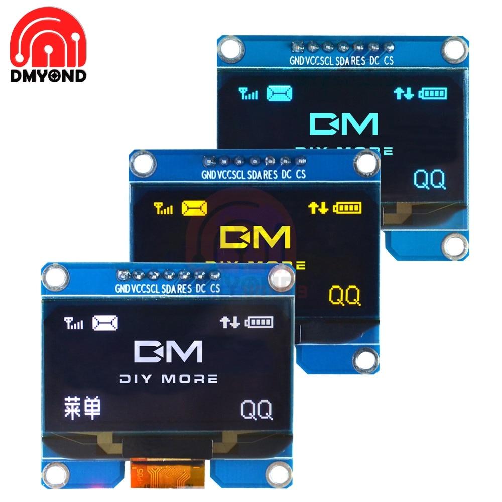 "7PIN 12864 OLED Screen 3.3-5V 1.54"" OLED LCD Display Module SSD1309 SPI I2C Interface  for Arduino AVR STM32 SPD0301"