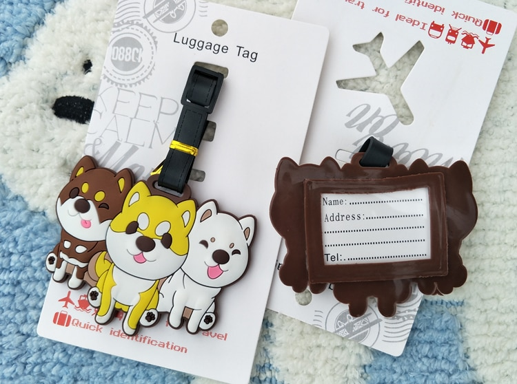 LISM HUSKY Dog Anime Travel Accessories Luggage Tag Suitcase ID Address Portable Tags Holder Baggage Label New