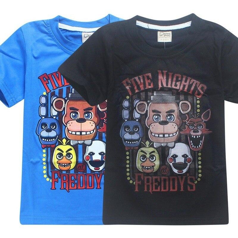 Cinco noites no freddy verão roupas infantis t-shirts 5 freddys t 3-12y crianças camisas meninos jogo dos desenhos animados de ação de graças topos