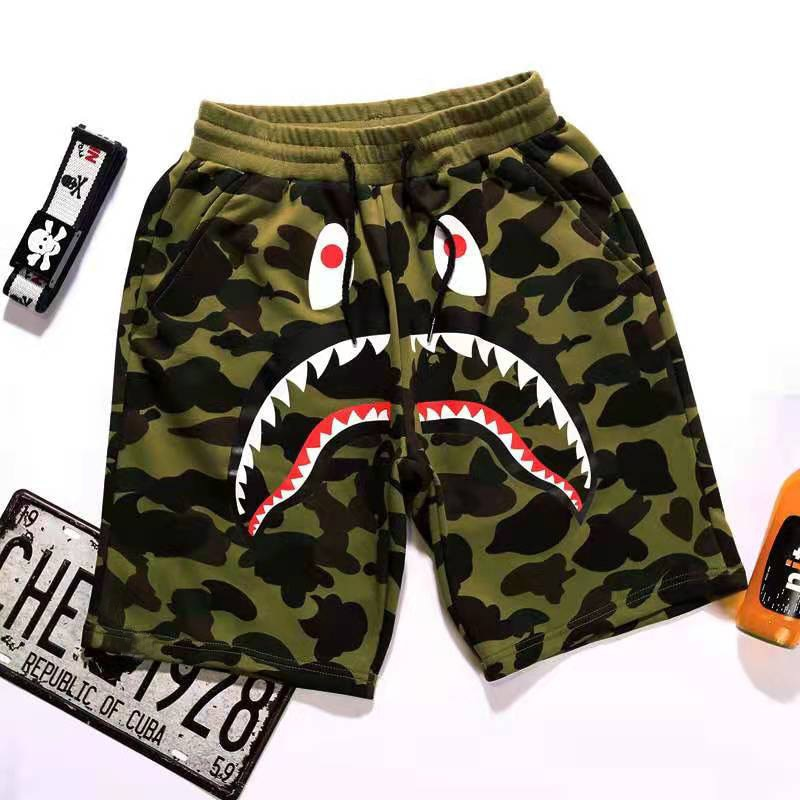 2021 Summer New Beach Pants Men's Japanese Tide Brand Shorts Camouflage Shark Mouth Print Casual Pan