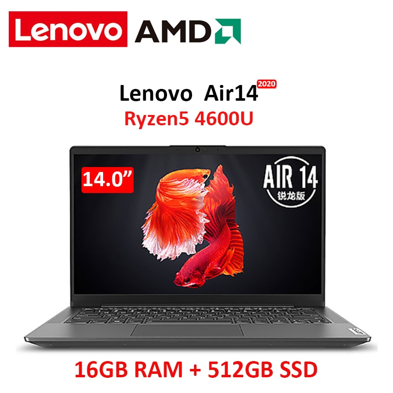 Promo lenovo air 14 laptop 2020 Ryzen 5 4600U 16GB RAM 512GB NVMe SSD 14 inch FHD IPS screen Notebook laptops