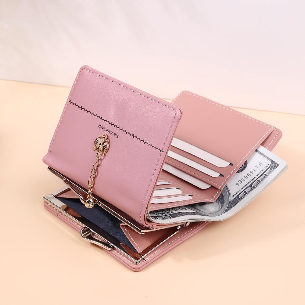 2021 New Fashion Women's Wallet Metal Buckle Design Short Women Coin Purse Card Holder Small Ladies