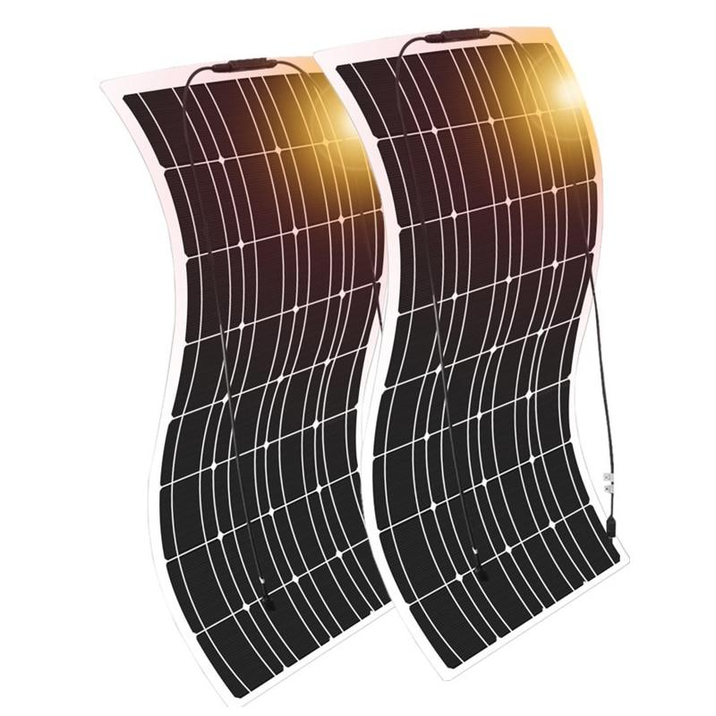 نظام لوحات شمسية 12 فولت 200 واط 100 واط عدة الشمسية شاحن بطارية خلية للسيارة RV قارب يخت التخييم ضوء الطاقة في الهواء الطلق PV 1000 واط