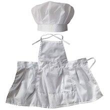 الرضع طفل مريلة الطباخ مجموعة التصوير الدعائم ، الشيف للجنسين الطفل موحدة زي صور الدعائم وتتسابق الأبيض