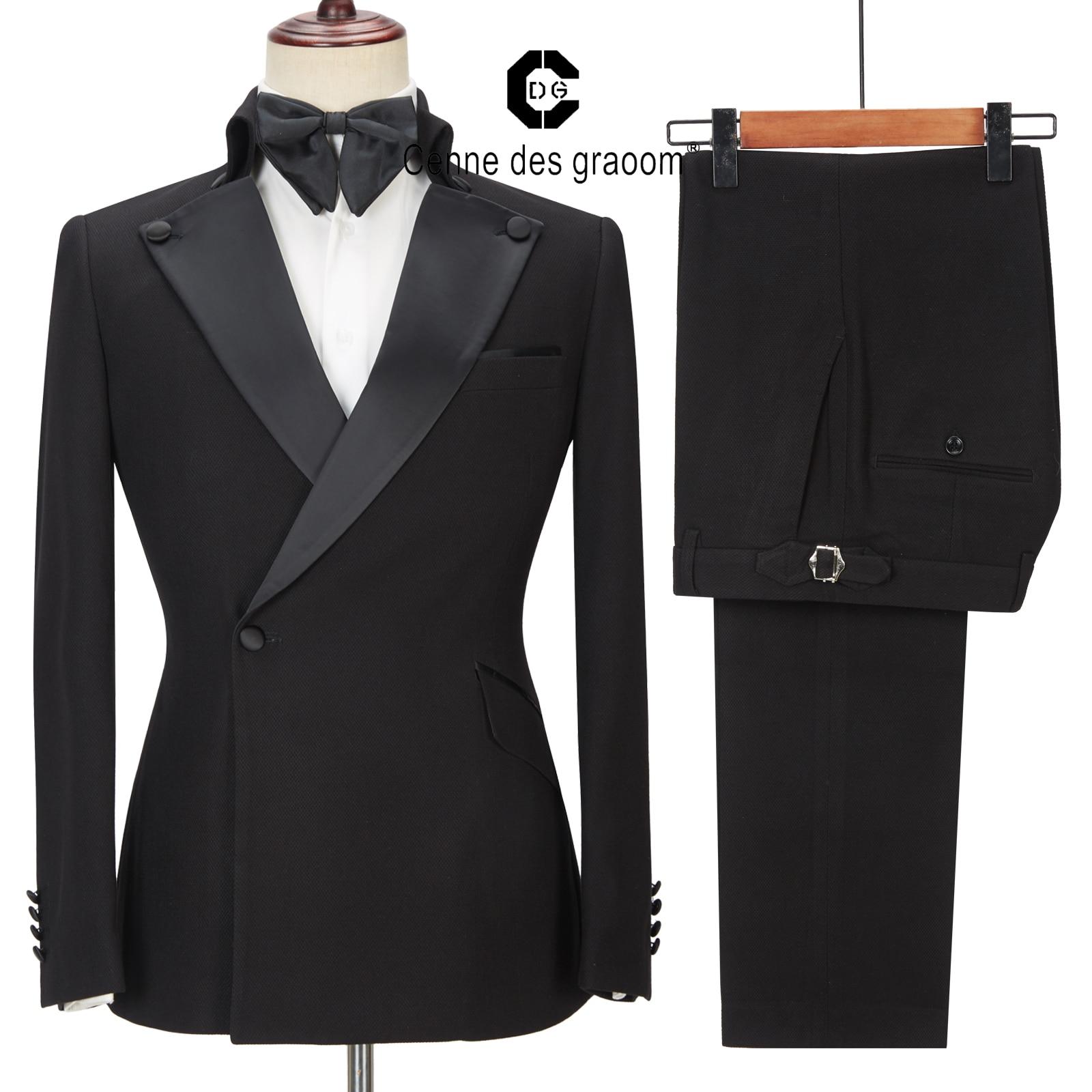 Cenne ديس Graoom أحدث معطف تصميم الرجال الدعاوى مصممة خصيصا سهرة 2 قطعة الحلل الزفاف حزب المغني العريس زي أوم الأسود